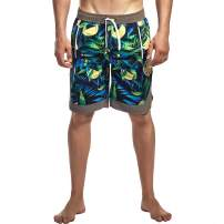 Ohrwurm Men's Sportswear Swim Trunks Quick Dry Mesh Lining Short Beach Shorts with Pockets, Colorful Green, Tag Size M