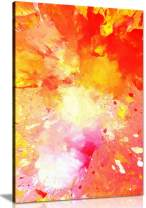 Pink Yellow & Orange Abstract Painting Canvas Wall Art Picture Print (12x8)