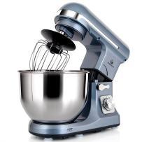 MURENKING Double Hooks Stand Mixer Professional, MK37 500W 5-Qt Bowl 6-Speed Tilt-Head Food Electric Mixer Kitchen Machine,Plastic (Silver Blue)