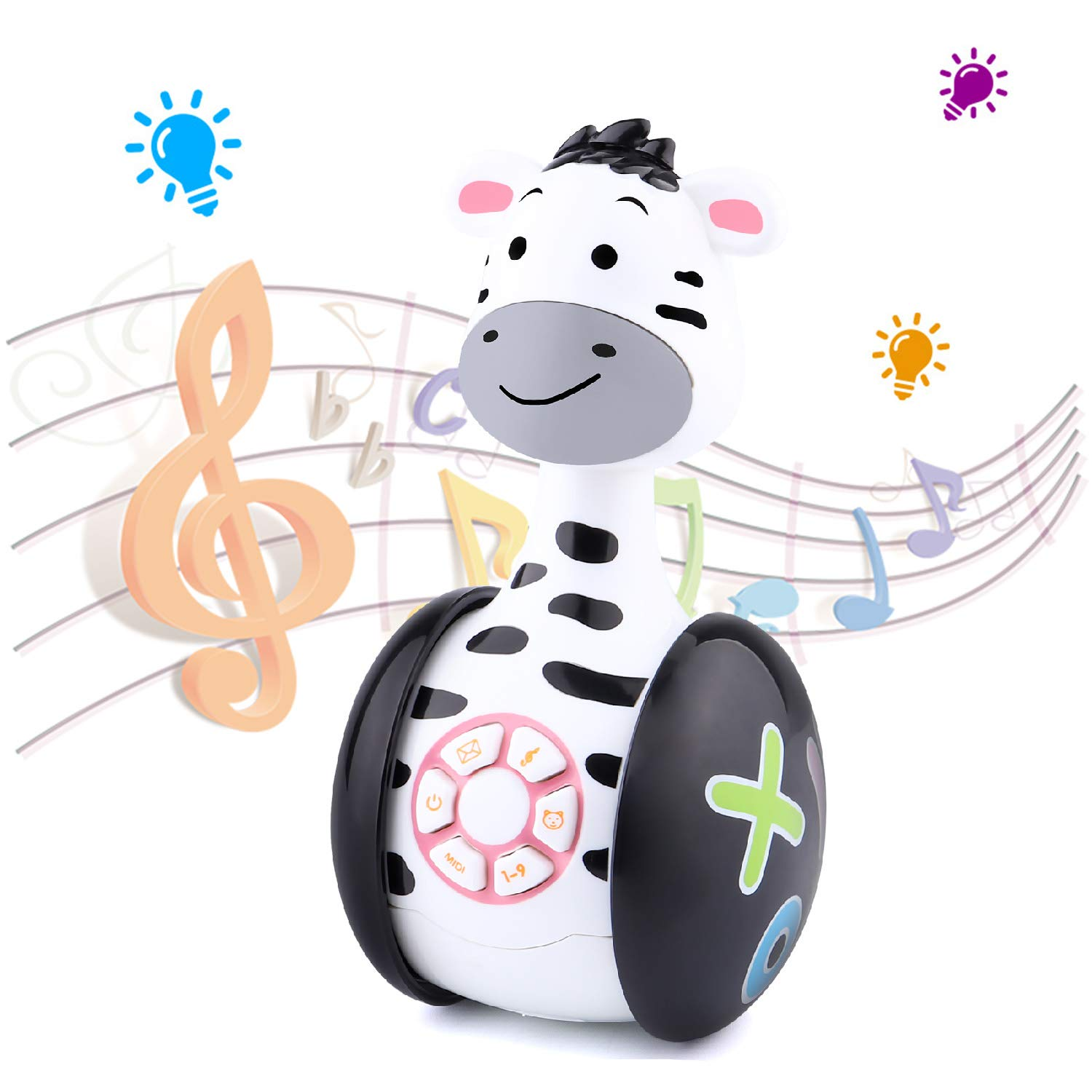 Tinabless Baby Musical Toys, Zebra Baby Tumbler Toy with Music and LED Light Up for Infants, Toddler Interactive Learning Development, Best Gifts