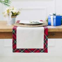 "ARKSU Tartan Plaid Kitchen Table Runner for Christmas, Holidays & Thanksgiving, 12"" x 72"""