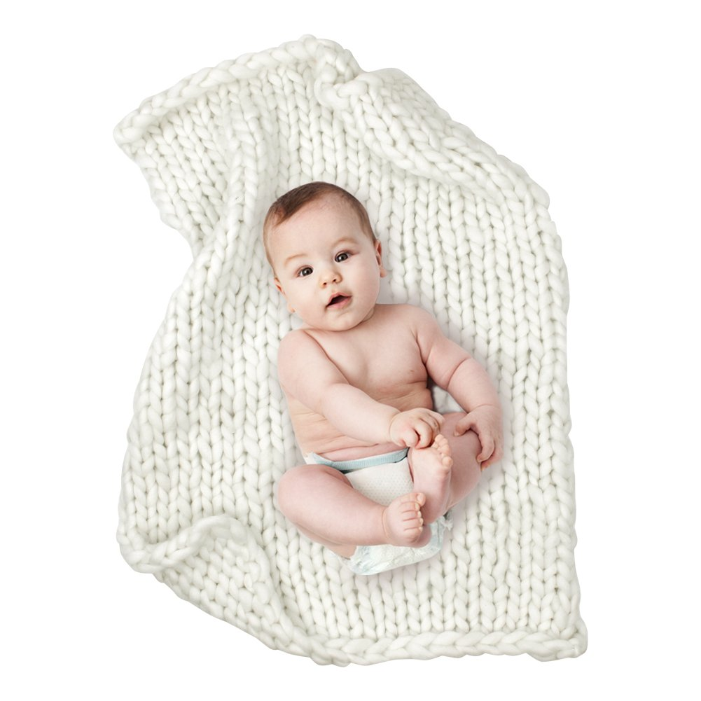 """Play Tailor Chunky Knit Blanket for Newborn Photography Props Baby Photo Backdrop Rugs Newborn Basket Filler (24""""x31"""", White)"""