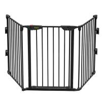 """Bonnlo 73-Inch Configurable Walk-Through Baby Safety Gate Adjustable Metal Barrier/Fence for Toddler/Pet/Dog/Cat/Puppy – Ideal for Openings/Stairs/Doorways (25.39""""W x 29.3"""" H Each Panel)"""