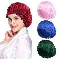 4PCS Satin Bonnet for Women Natural Curly Hair,J