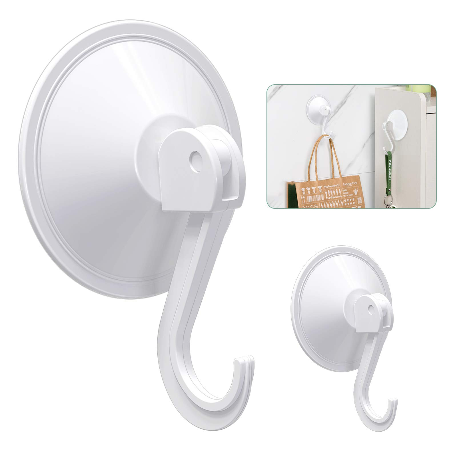 HangerSpace Suction Cup Hooks, White Plastic Vacuum Suction Cup Hooks Reusable Heavy Duty Suction Hanger for Kitchen Shower Window Glass Wall - 2 Pack
