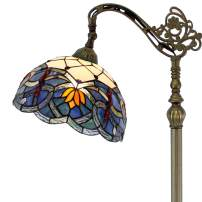 Tiffany Style Reading Floor Lamp Stained Glass Lotus Lampshade in 64 Inch Tall Antique Arched Base for Girlfriend Bedroom Living Room Lighting Table S220 WERFACTORY