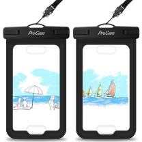 """Procase Waterproof Case with Touch ID, Cellphone Dry Bag Pouch for iPhone 11 Pro Max Xs Max XR XS X 8 7 6S Plus SE 2020 with Fingerprint Recognition, Galaxy S20 Ultra S10 S9 S8+ up to 6.9"""" -2 Pack"""