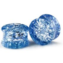 BodyJ4You Plugs 14mm Pyrex Glass Aqua Blue Cracked Design Saddle Plugs 14mm- 2 Pieces