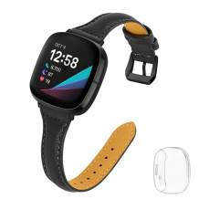 Joyozy Thin Leather Bands with Clear Screen Protector Case Compatible with Fitbit Sense/Fitbit Versa 3,Professional Chic Wristband Strap Replacement for Women Men Black with Black Buckle