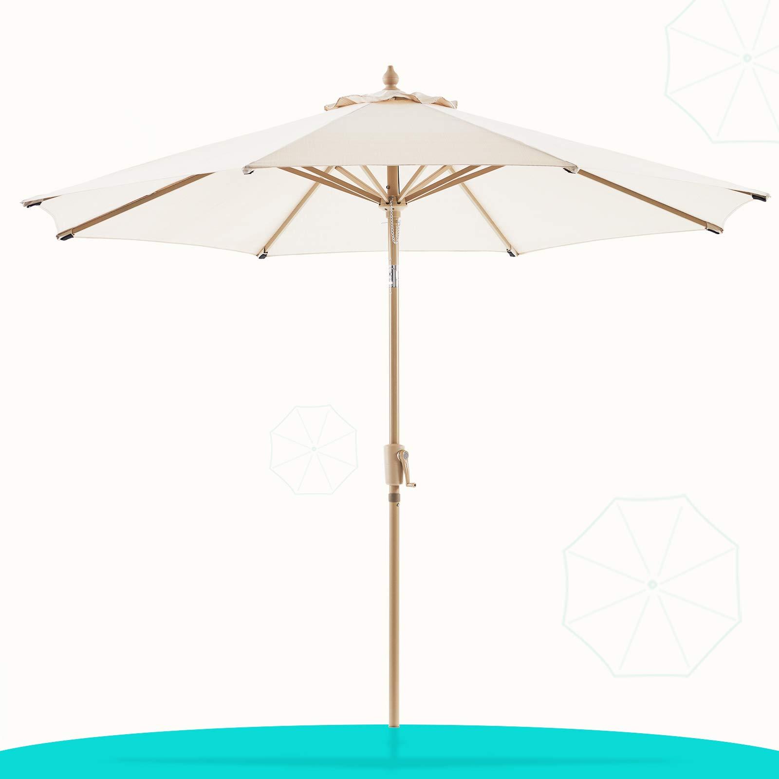 LE CONTE Olefin 9 ft. Patio Umbrella Outdoor Market Umbrellas Table Umbrellas | 3 Years Non-Fading Fabric & Push Button Tilt | Best for Deck, Balcony, Garden, Lawn & Pool (Beige)