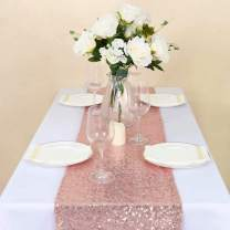 GFCC Pack of 20 Sequin Table Runners 12 x 108 Inches for Wedding/Party/Event Decoration, Rose Gold