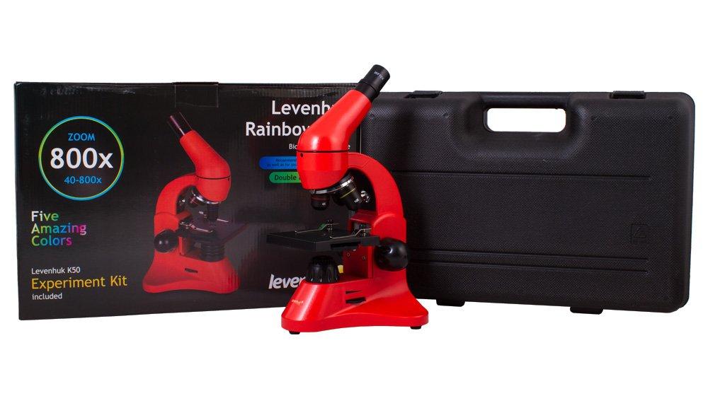 Levenhuk Rainbow 50L Orange Lightweight Student Microscope (40-800x) with Experiment Kit and Storage Case
