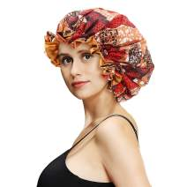 VINICUNCA Satin Bonnet Sleeping Caps for Women Protective Hairstyles Double Layer Reversible Bonnets for Curly Hair Satin Hats (Large, Orange)