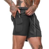 THWEI Men's 2-in-1 Crossfit Shorts Bodybuilding Shorts Men Running Jogger with Pockets