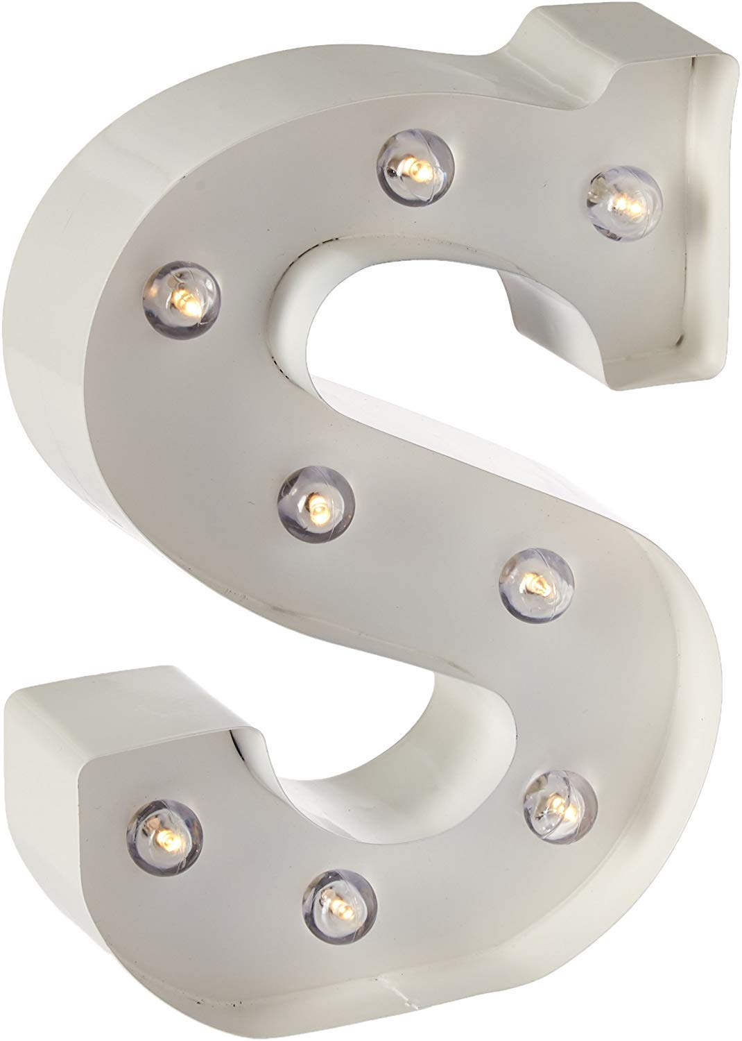 """Darice White Metal Marquee Letter – S - 9.87"""" Tall, White Finish"""