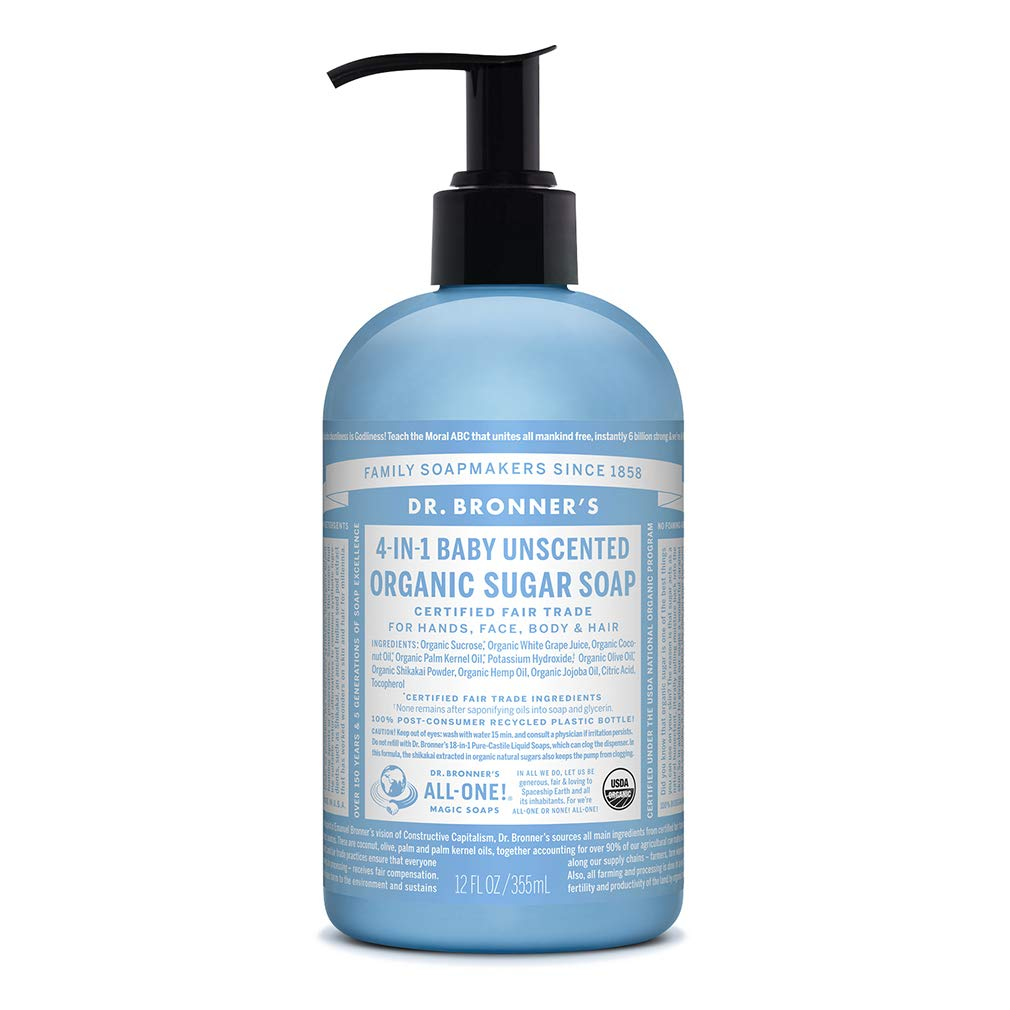 Dr. Bronner's - Organic Sugar Soap (Baby Unscented, 12 Ounce) - Made with Organic Oils, Sugar and Shikakai Powder, 4-in-1 Use: Hands, Body, Face and Hair, Moisturizes and Nourishes, No Added Fragrance