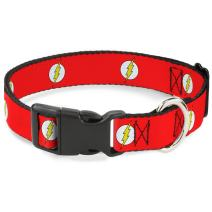 "Buckle-Down Plastic Clip Collar - Flash Logo Red/White/Yellow - 1/2"" Wide - Fits 6-9"" Neck - Small"