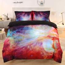 Imiee Beautiful Multi Galaxy Duvet Cover Bedding Sets 3 Pieces Twin Size for Kids, Tencel Cotton Multi Galaxy Comforter Cover Sheet Sets with Pillowcases(Twin)