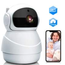 Baby Monitor, WiFi IP Camera 1080P Wireless Security Camera with Two Way Audio, Motion Detection and Cloud Storage Support 2.4G WiFi Night Vision Remote Surveillance Monitor for Home/Office/Shop
