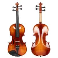 4/4 Violin Full Solid Wood Ebony Accessories, Case, Bow, Rosin, Plastic Shoulder Rest, Electronic Tuner and A Set of Strings,Bright Color (Natural)