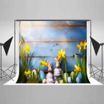 Kate 8×8ft Happy Easter Backdrop Blue Wood Floor with Bunny Eggs Backdrop Rabbits Easter Fabric Photo Stuido Booths for Easter Spring Photography Seamless Free Wrinkles