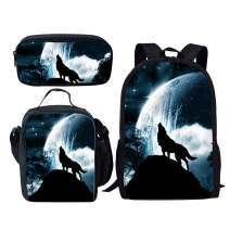 Dellukee School Backpack Set Lunch Bag Pen Bags Cute Durable Bookbags Daypacks Wolf Print