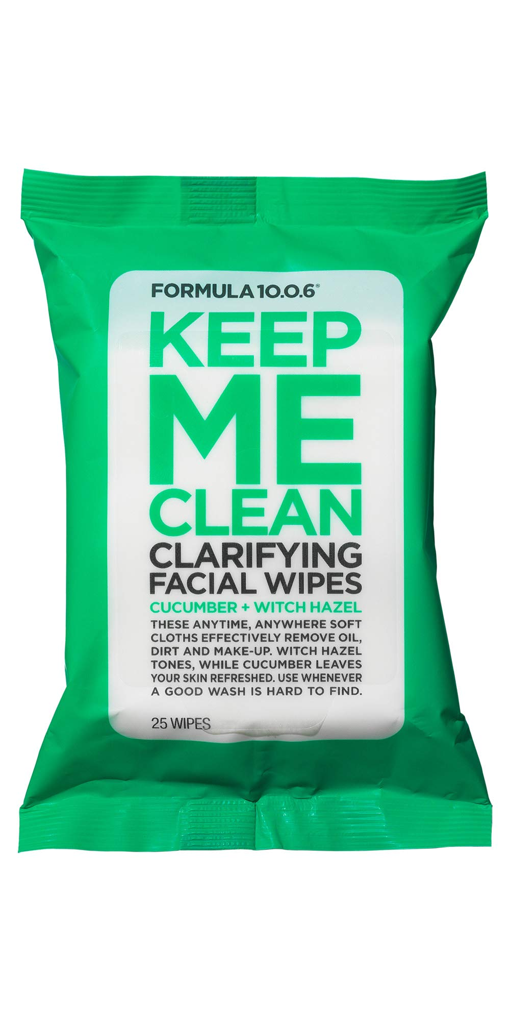 Formula 10.0.6 Keep Me Clean Clarifying Facial Wipes (25 Pc Pkt.) Daily Cleansing Face Wipes that Remove Make-Up, Excess Oil & Impurities from Skin - Vegan, Paraben-Free, Sulfate-Free & Cruelty-Free