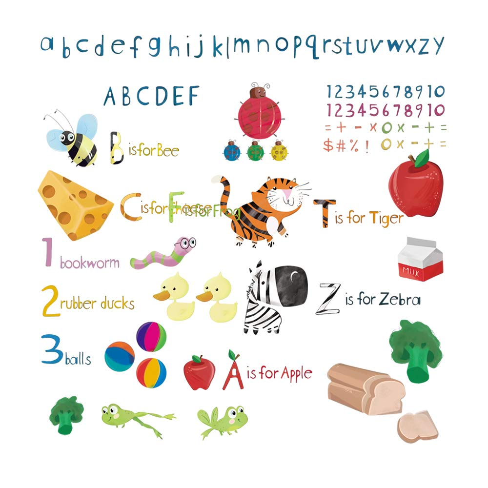 DecalMile Animal Alphabet ABC and Number Wall Stickers Childrens Education Wall Decals Baby Nursery Bedroom Classroom Kids Room Wall Decor