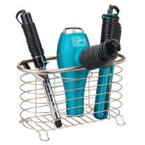 mDesign Metal Wire Hair Care & Styling Tool Organizer Holder Basket - Bathroom Vanity Countertop Storage Container for Hair Dryer, Flat Irons, Curling Wands, Hair Straighteners - Satin