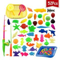 Eseres 52 Pcs Magnetic Fishing Toys Pool Toys Kids Fishing Toys for Toddlers Waterproof Floating Fish Play Sets Bath Toys Set Learning Education Toy Set for Kids