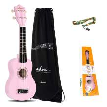 ADM Soprano Ukulele for Kids Beginners 21 Inch with Uke Starter Pack Kit, Gig Bag and Strap, Pink
