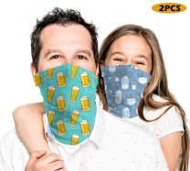 meakeize 2 PCS Men and Child Bandanas Face Mask UV Protection Ski Mask Neck Gaiter Headband for Father