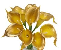 Angel Isabella 10pc Set of Real Touch Calla Lily-Keepsake Artificial Calla Lily with Small Bloom Perfect for Making Bouquet, Boutonniere,Corsage.Quality Keepsake Artificial Flower (Metallic Gold)