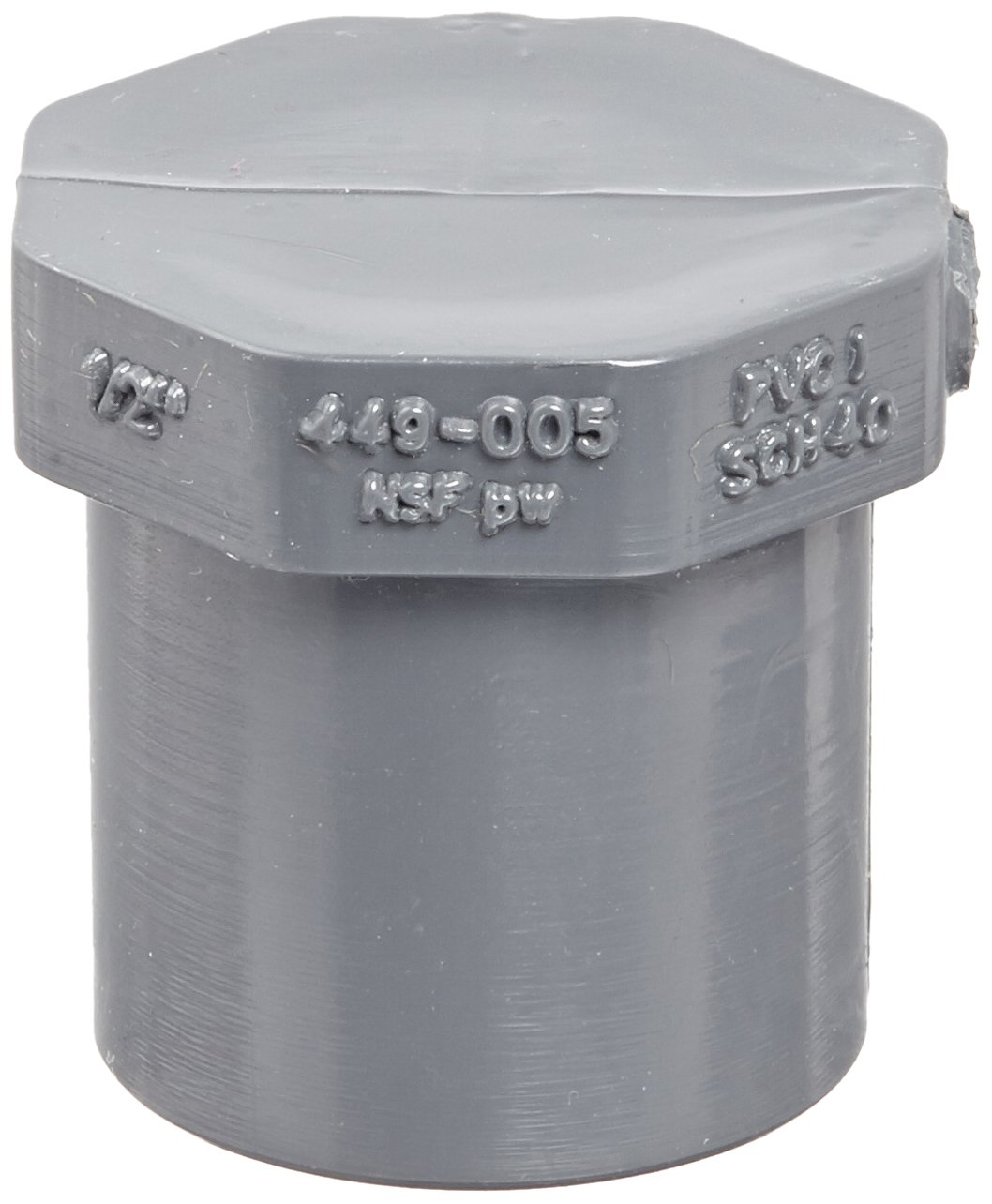 """Spears 449-G Series PVC Pipe Fitting, Plug, Schedule 40, Gray, 1/2"""" Spigot"""