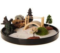ICNBUYS Zen Garden with Boat Bridge Japanese Censers Set with Free Rake and Pushing Sand Pen Base Tray Diameter 9.4 inches