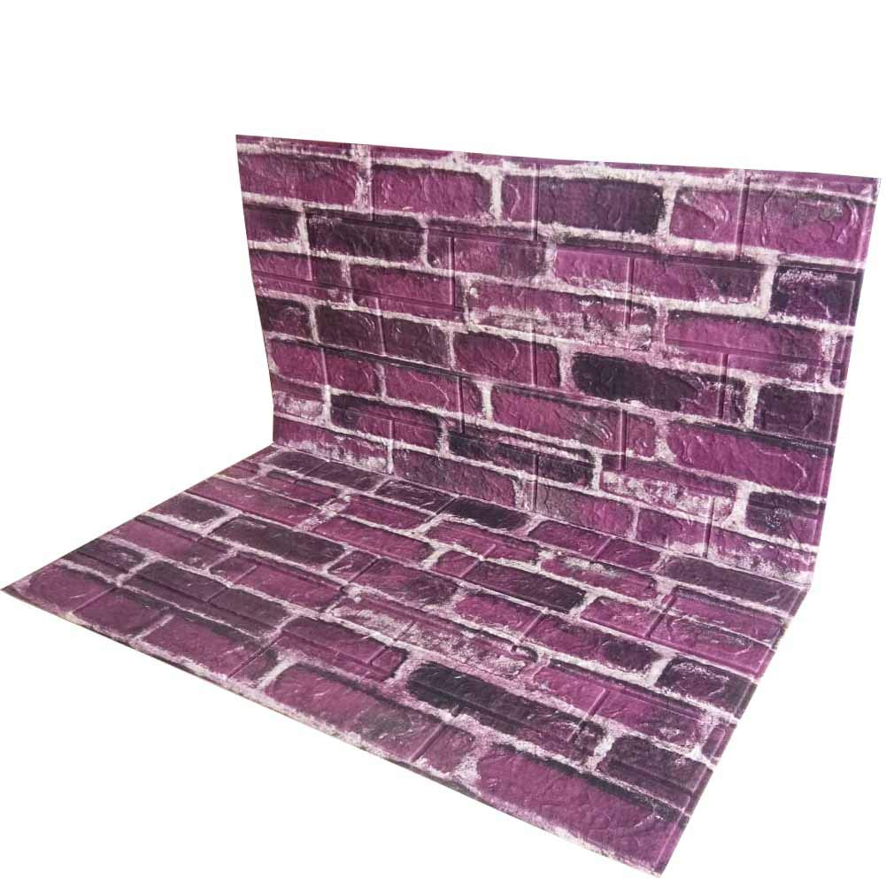 POPPAP 3D Wall Panels Faux Brick Foam Wallpaper Peel And Stick Adhesive Wall Panels Tiles Purple White Color Painted Wall Panels Wall Decor 10 Panels