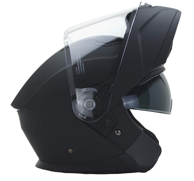 Vega Helmets Unisex-Adult Modular Motorcycle & Snowmobile Helmet 30% Larger Shield and Sunshield (Caldera Matte Black, X-Large)