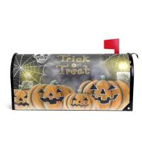 """Naanle Halloween Magnetic Mailbox Cover, Halloween Pumpkin Skull Mailbox Wrap Home Decorative for Standard Size 20.8""""(L) x 18""""(W)"""