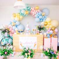 110pcs Pastel Balloons Garland Kit - Assorted Size and Color Macaron Candy Colored 5, 12, 18 Inch Pastel Party Balloons and Gold Confetti Balloons Unicorn Balloon Garland for Wedding Birthday Baby Shower Bridal Shower Party Decorations