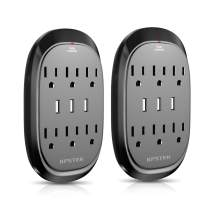 Surge Protector, 2 Pack KPSTEK 6-Outlet Multi Plug Outlet Extender with 3 USB Ports (3.4A Total), Wall Plug Adapter for Home, Office and Dorm Room, Black – KS3336F