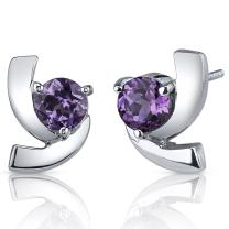 Simulated Alexandrite Earrings Sterling Silver Round Cut 2.50 Carats