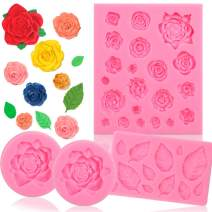 BAKHUK 35 Cavity Rose Flower and Leaves Fondant Candy Mold, Silicone Melt Candy Mold for Chocolate, Wedding and Birthday Cake Decoration
