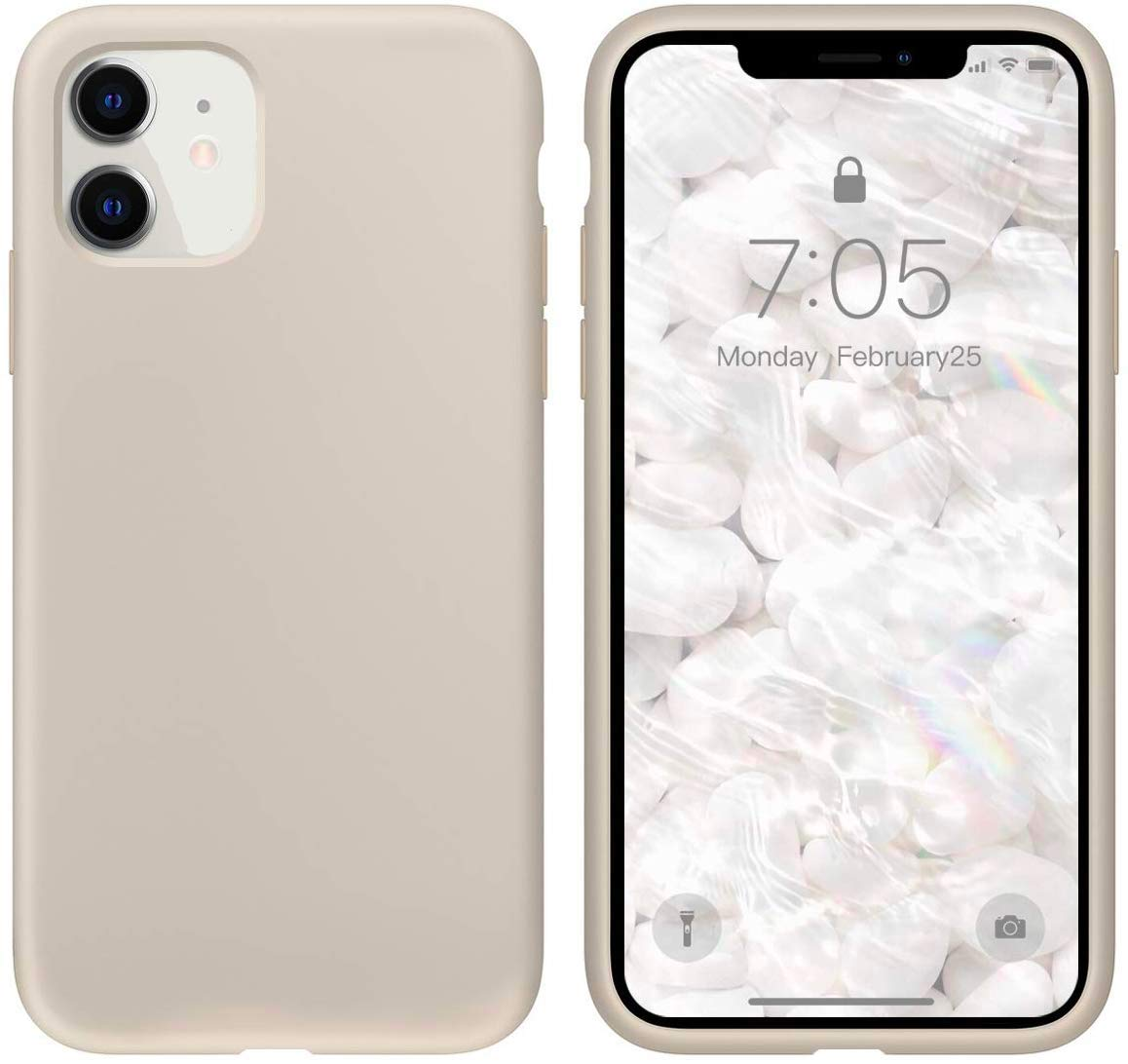 """IceSword iPhone 11 Case, Stone iPhone 11 Silicone Case, Gel Rubber Full Body, iPhone 11 Cute iPhone 11 case, Soft Microfiber Cloth, 6.1"""" iPhone 11 case Silicone, iPhone 11 case Cute - Stone"""