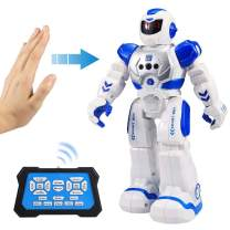 Flyglobal Smart RC Robot Toy for Kids, Gesture Sensing Singing Walking Dancing Robot for Boys Girls, Intelligent Programmable Smart Remote Control Robot Kit Toys Blue