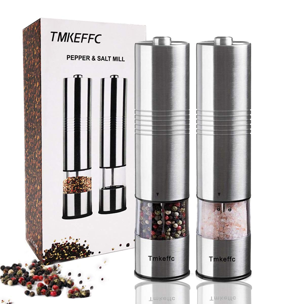 TMKEFFC Electric Salt Pepper Grinder Set of 2, Spices Seasoning Stainless Steel Mill Battery Operated Shaker Adjustable Coarseness, Ceramic Rotors LED Light, Transparent Container