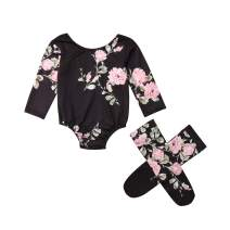 TSEXIEFOOFU Newborn Baby Girls Flower Long Sleeve Romper Jumpsuit+Leg Warmers 3Pcs Outfits Clothes