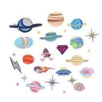 CCINEE 26pcs Iron On Patches DIY Sew On Decorative Appliques Stickers Embroidery Patches for Cloth Backpacks Jeans Coats, Solar System Theme
