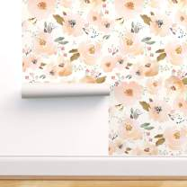 Spoonflower Peel and Stick Removable Wallpaper, Peachy Flowers Peach Floral Modern Decor Spring Print, Self-Adhesive Wallpaper 12in x 24in Test Swatch