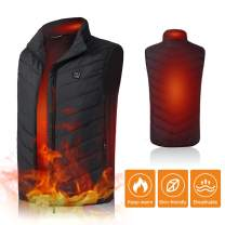 Lixada Electric Heated Vest Lightweight Winter Warm Waistcoat Electric Heating Vest USB Charging Heated Coat Commuting Walking Camping Ice Fishing Thermal Vest with Pocket