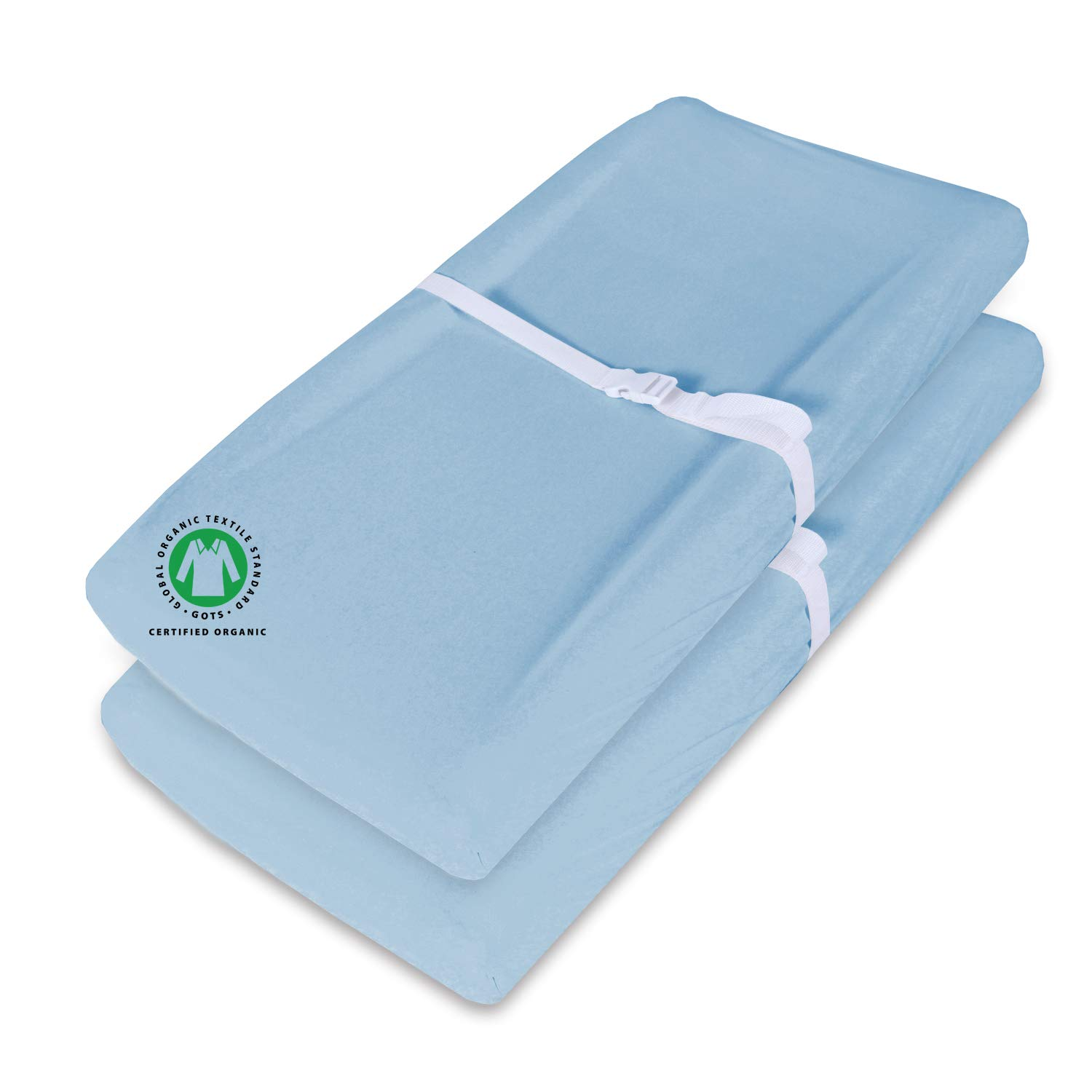 100% Organic Changing Pad Cover/Change Table Cover Sheets, 2 Pack Waterproof Light Blue Changing Pad Covers, Ultra Soft Organic Cotton